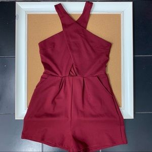 GB | maroon romper Criss cross front over shoulder